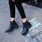 工厂定制批发2018冬季新款短靴马丁靴平底粗跟英伦风女鞋皮靴子