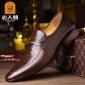 牛皮英伦尖头男鞋老人头新款时尚鳄鱼纹真皮男士商务正装皮鞋婚鞋