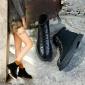 新款马丁靴女加绒2018秋冬英伦风韩版百搭粗跟短靴复古真皮机车靴